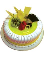 圆形鲜奶水果蛋糕,绿色果浆,时令水果,巧克力片装饰