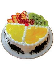 圆形鲜奶水果蛋糕,奶油十字交叉,双色水果,双色果浆装饰,外围巧克力屑点缀
