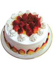 圆形鲜奶水果蛋糕,中间草莓,白色奶油周边装饰,草莓片贴边。(草莓为季节性水果,如缺货,会用时令水果代替)