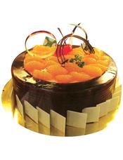 圆形巧克力水果蛋糕,时令水果装饰,巧克力片围边装饰