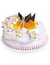 双层圆形鲜奶蛋糕,上层时令水果,奶油花装饰。