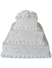 三层方形鲜奶蛋糕,白色百合花装饰