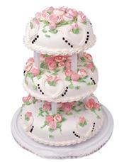 三层圆形鲜奶蛋糕,粉色鲜奶玫瑰花