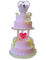 四层圆形鲜奶蛋糕,鲜奶百合花装饰