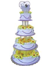 四层鲜奶水果蛋糕,鲜奶太阳花装饰