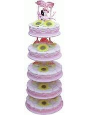 五层鲜奶蛋糕,太阳花装饰