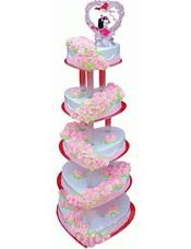 五层心形鲜奶蛋糕,粉色鲜奶玫瑰花装饰