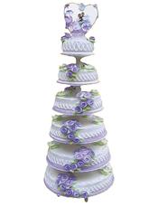六层鲜奶蛋糕,紫色鲜奶玫瑰花装饰
