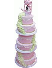 六层圆形鲜奶蛋糕,淡黄色鲜奶玫瑰花