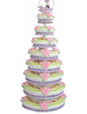 八层鲜奶水果蛋糕,时令水果,粉色鲜奶玫瑰花。