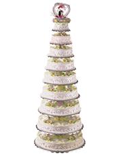 九层圆形鲜奶蛋糕,鲜花并蒂莲。