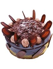 圆形巧克力蛋糕,巧克力色奶油花装饰,巧克力屑填充