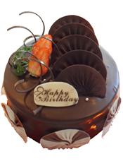 圆形巧克力蛋糕,巧克力片装饰,时令水果装饰