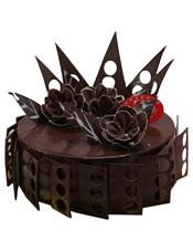 圆形巧克力蛋糕,巧克力片,巧克力花装饰