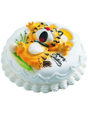 圆形奶油蛋糕,一只可爱小老虎。
