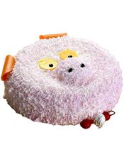 可爱小猪形状奶油蛋糕。(该款为艺术蛋糕,请提前咨询客服是否能做)