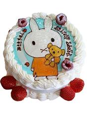 圆形奶油蛋糕,新鲜时令点缀,一只可爱小兔子。