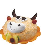 牛牛形状奶油蛋糕。(该款为艺术蛋糕,请提前咨询客服是否能做)