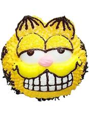 黄色小猫咪形状奶油蛋糕。(该款为艺术蛋糕,请提前咨询客服是否能做)