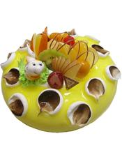 圆形奶油果酱澳门金沙APP,时令水果装饰,1只可爱小蛇。