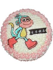 圆形奶油蛋糕,一只行走的小猴图案。