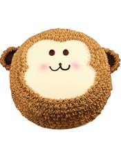 小猴形状奶油蛋糕。(该款为艺术蛋糕,请提前咨询客服是否能做)