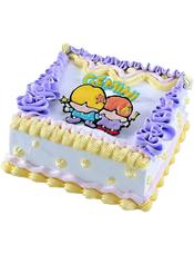 Gemini双子座专属,方形鲜奶蛋糕,四周奶油花装饰