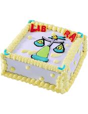 Libra天秤座专属,方形鲜奶蛋糕,四周奶油花装饰