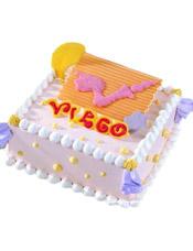virgo处女座专属,方形鲜奶蛋糕,四周奶油花装饰