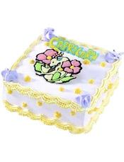 Capricorn魔羯座专属,方形鲜奶蛋糕,四周奶油花装饰