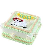 Aries白羊座专属,方形鲜奶蛋糕,四周奶油花装饰