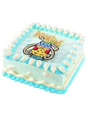 Aquarius水瓶座专属,方形鲜奶蛋糕,四周奶油花装饰