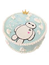 圆形奶油蛋糕,大白图案生动可爱。