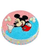 圆形奶油蛋糕,一只欢乐米老鼠。