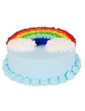 彩色蛋糕胚,奶油圆形蛋糕彩虹形状奶油装饰(需提前1―2天预订)