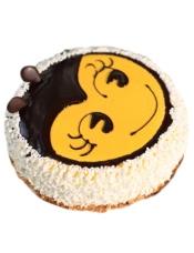 圆形奶油蛋糕,黑巧克力酱装饰