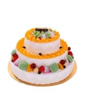 三层圆形鲜奶水果蛋糕,各色时令水果铺面。