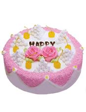 圆形鲜奶蛋糕,粉色奶油围边装饰,中间粉色玫瑰花一对,时令水果和奶油装饰。