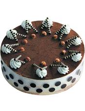 提拉米苏蛋糕,奶油和巧克力卷装饰。