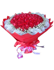 99枝红玫瑰,满天星。