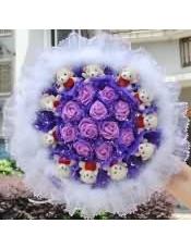 11只小熊11枝仿真紫色玫瑰花卡通花束