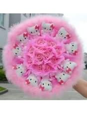 11KT猫11枝仿真粉玫瑰粉小毛卡通花束