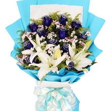 12枝蓝玫瑰 2枝多头白百合图片