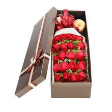 19朵红玫瑰,搭配情人草装饰,随机赠送苹果一只