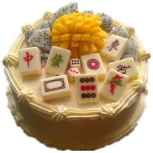 圆形水果麻将蛋糕,麻将牌、水果表层装饰