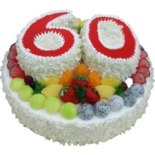 14寸+(6寸+6寸)双层祝寿水果蛋糕,上层分别用2个6寸蛋糕设计数字6和0;水果外围装饰,白色巧克力屑围边
