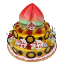 16寸+12寸+8寸寿桃三层祝寿水果蛋糕,黄色果酱淋面,水果外围,巧克力片围边