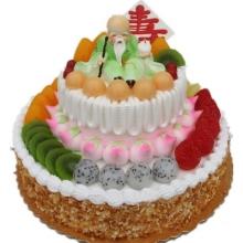 双层祝寿鲜奶水果蛋糕图片