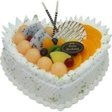 心形鲜奶水果蛋糕图片