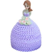 紫色卡通芭比蛋糕图片